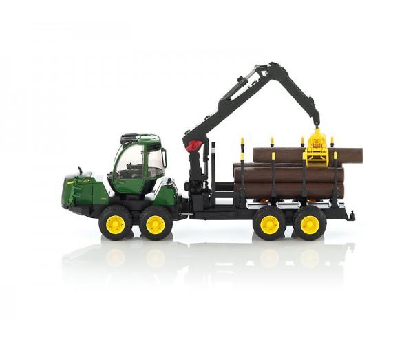 Lesnícky traktor John Deere 1210E s hydraulickou rukou, model v mierke 1:16