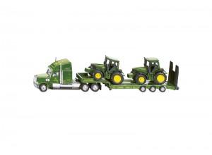 Ťahač s valníkom a traktormi John Deere, model v mierke 1:87