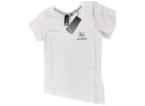 Dámske tričko John Deere, biele s čiernym logom
