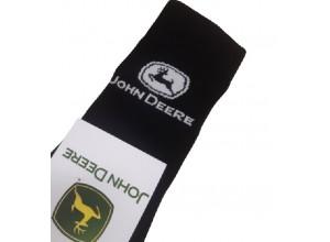 Čierne bavlnené ponožky s bielym logom John Deere