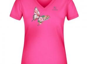 Dámske elastické tričko John Deere s obrázkom motýľ a kvet v ružovej farbe
