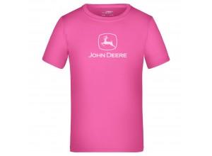 Detské športové tričko John Deere v ružovej farbe