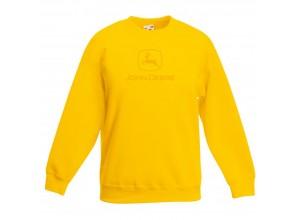 Detská mikina John Deere bez kapucne v žltej farbe