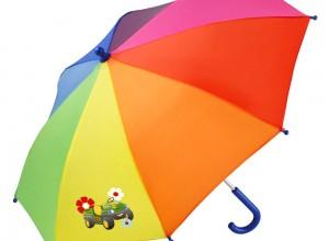 Detský dáždnik John Deere s dúhovým motívom a obrázkom malého vozidla gator