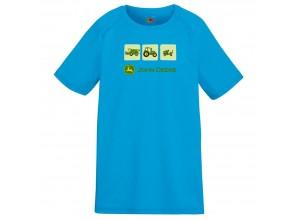 Detské športové tričko John Deere s troma obrázkami v modrej farbe