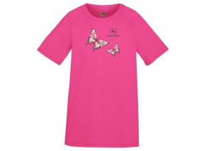 Detské športové tričko John Deere s obrázkom dvoch motýľov v tmavoružovej farbe