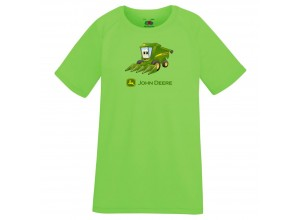 Detské športové tričko John Deere s obrázkom malého kombajnu v krikľavožltej farbe