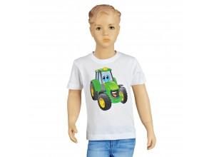 Detské tričko John Deere s obrázkom traktora Johny v bielej farbe