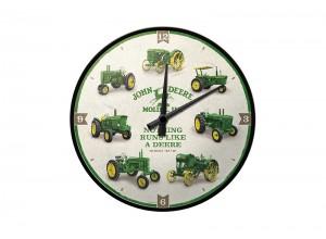 Nástenné hodiny John Deere, retro hodiny s historickými traktormi