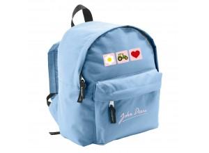 Detský batoh John Deere s 3 obrázkami na ružovom podklade, bledo modrý