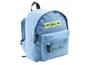 Detský batoh John Deere s 3 obrázkami na zelenom podklade, bledo modrý